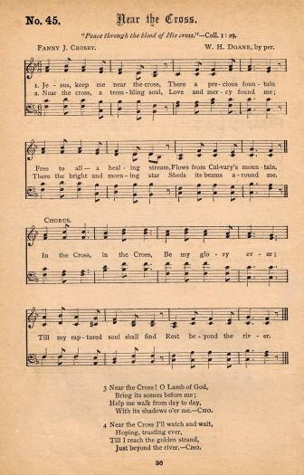 Near The Cross Antique Hymnal Page Printable Hymn Music