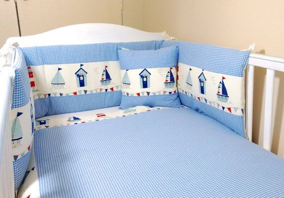Nautical Seaside Baby Bedding Set With, Sailboat Baby Bedding Set