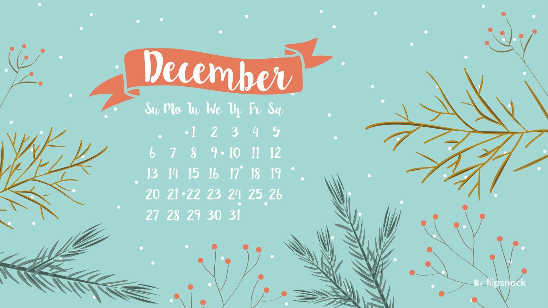 December 2019 Calendar Wallpaper Floral Vintage Desktop