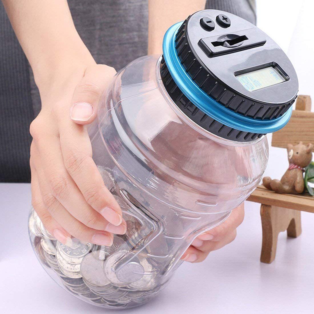 Abluea Piggy Bank Digital Automatic Counting Coin Bank Jar