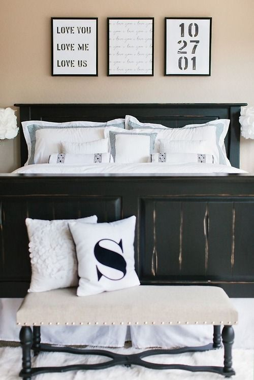 Three frames above the bed a phrase you say often lyrics - Master bedroom art above bed ...