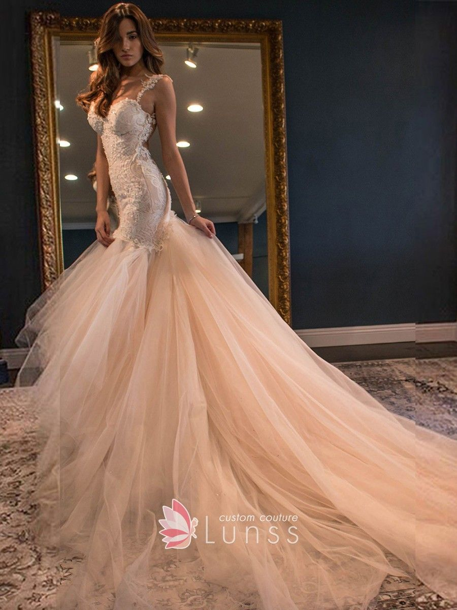 Champagne lace and tulle mermaid modern wedding dress with watteau