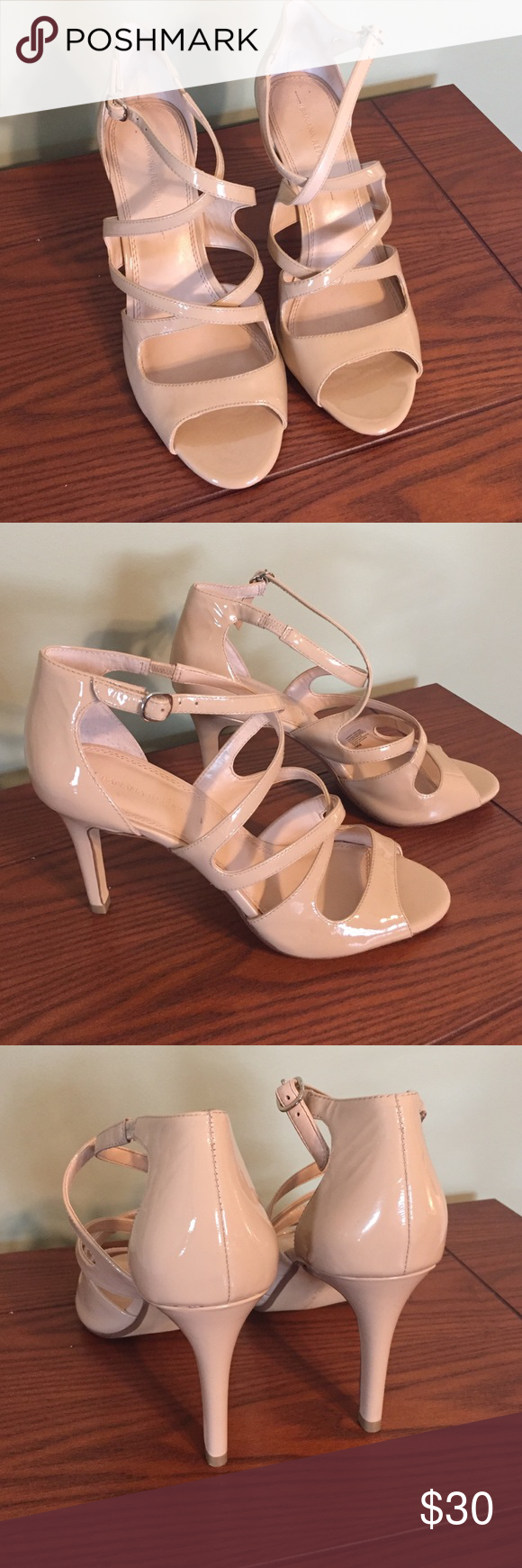 New Banana Republic nude patent leather heels Brand new Patent leather heels from Banana Republic . 3 1/2 inch heels. Gorgeous crossover straps. Size 9. Banana Republic Shoes Heels