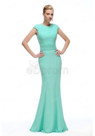 Modest Mint Green Mermaid Prom Dresses Cap Sleeves Long | Wedding ...