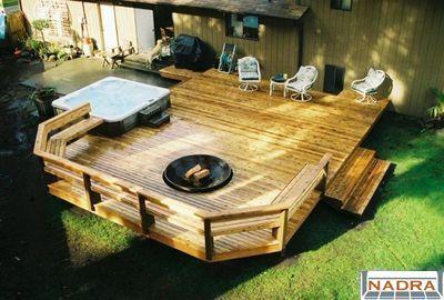 Build Deck Around Hot Tub Hot Tub Deck Deck Fire Pit Pool Hot Tub