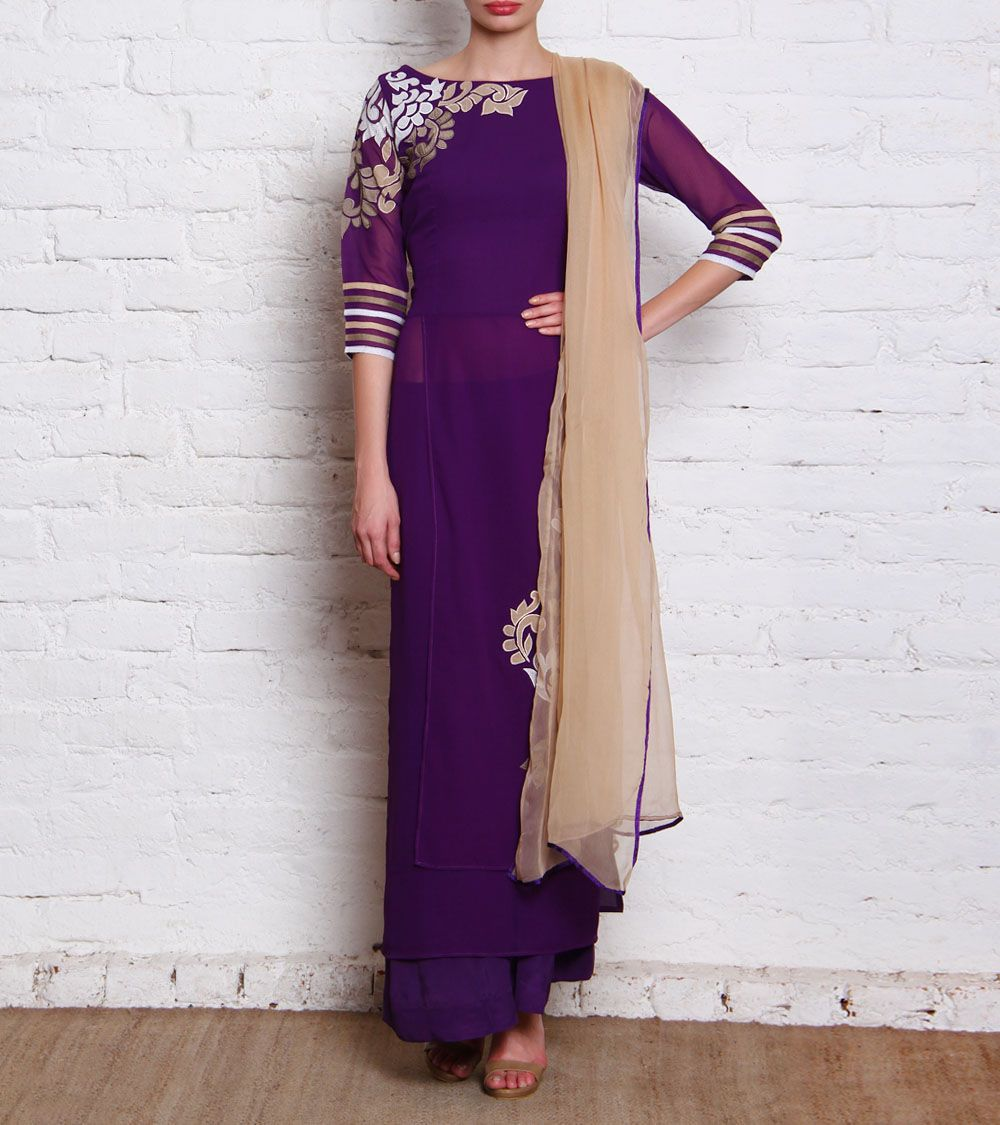 Shirt design with palazzo - Purple Georgette Double Panel Shirt With Palazzo Pants
