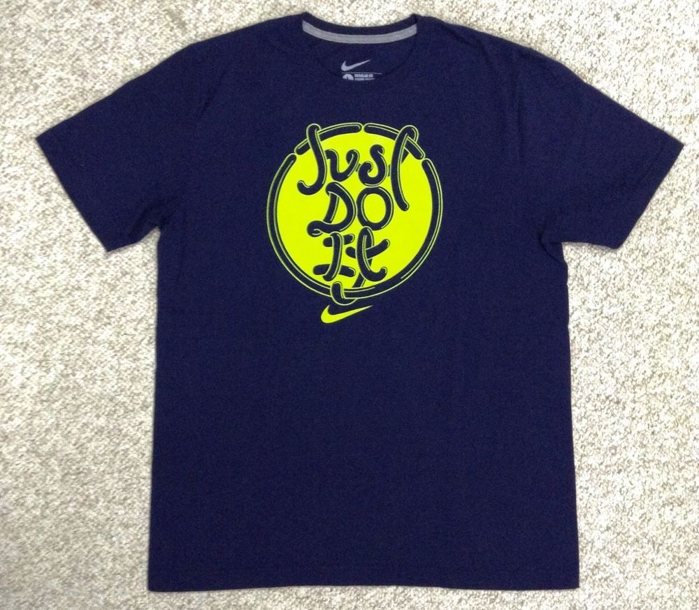 Nike just do it t shirt navy blue neon green ish yellow for Neon blue t shirt