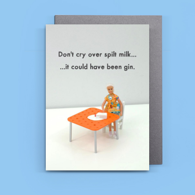 Think Positive Card By Jeffrey And Janice Milk Gin Alcohol Booze Spirit Funny Positive Cards Unique Greeting Cards Gin