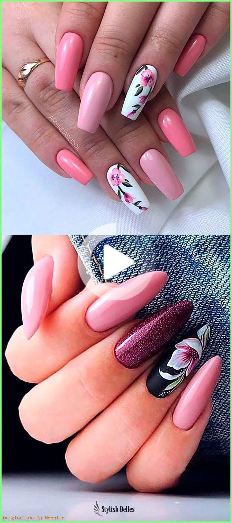 Summer Nails Designs 2019- Cute coffin and almond floral nails ideas #