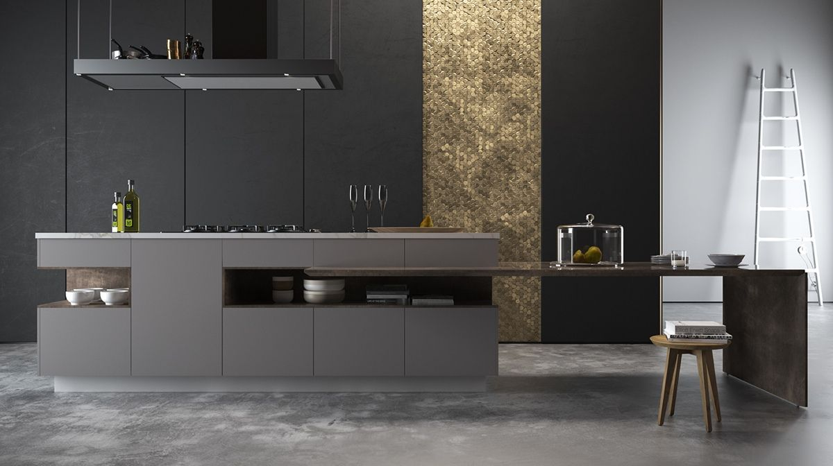 gold-panel-kitchen-black-cabinetry-grey-benchtop.jpg (1200×672)