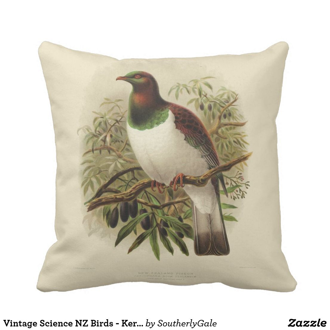 Vintage Science NZ Birds Kereru Square Cushion Part of the