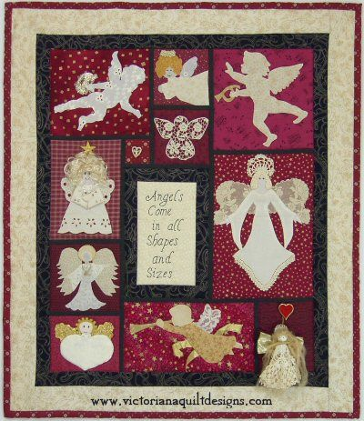 """Angels Come in All Shapes & Sizes"" This is my Angels All Around wallhanging, which if full of fun fabrics & embellishments! #quilting #appliqué #angels"