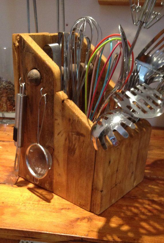 Kitchen Utensil Holder by WoodWorxbyBoz on Etsy