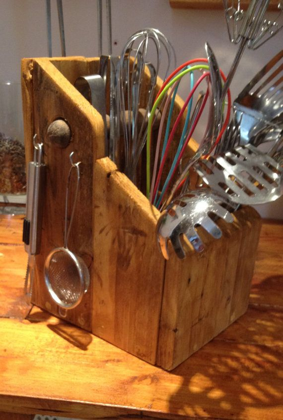 Kitchen utensil holder by woodworxbyboz on etsy for Creative silverware storage