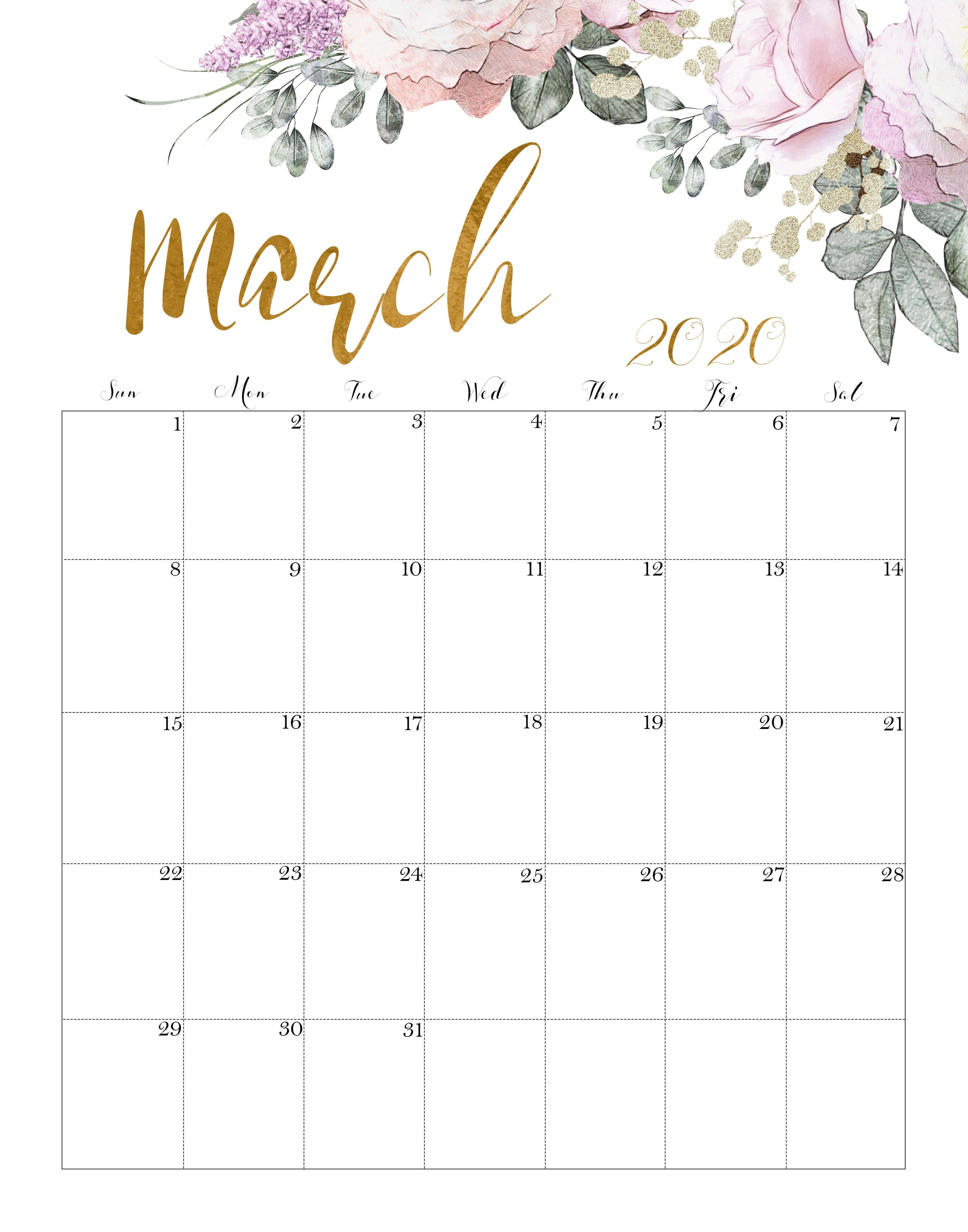 Floral March 2020 Calendar In 2020 March Calendar Printable Free Printable Calendar Free Calendar Template