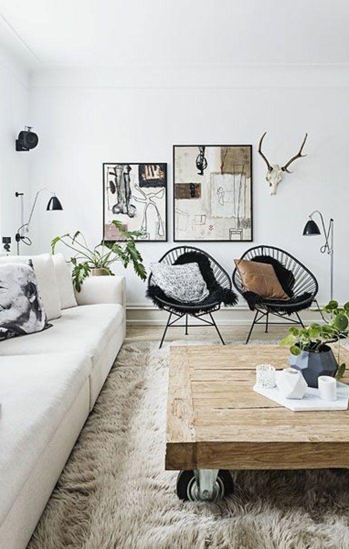 1 Salon En Longueur Table Basse Design En Bois Tapis Beige Canape