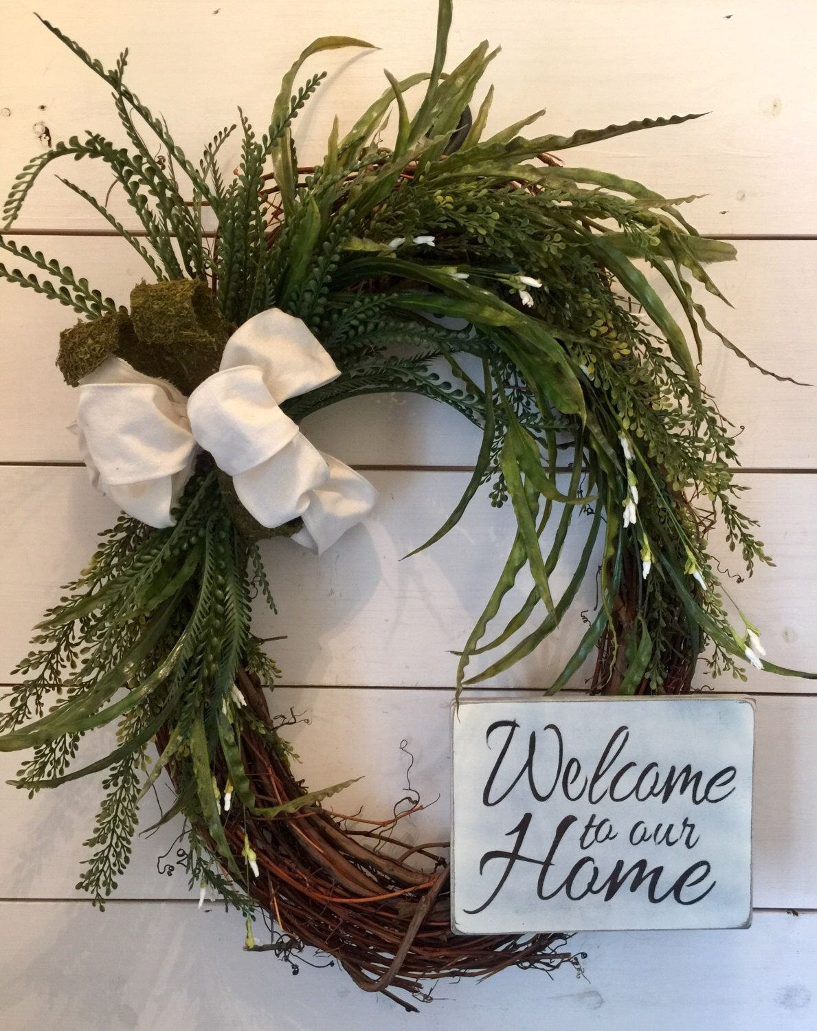 Extra Large Oval Wreath Greenery Door Wreath Farmhouse Decor Welcome Sign Welcome Wreath Wood Sign Distresse With Images Greenery Wreath Door Wreaths Welcome Wreath