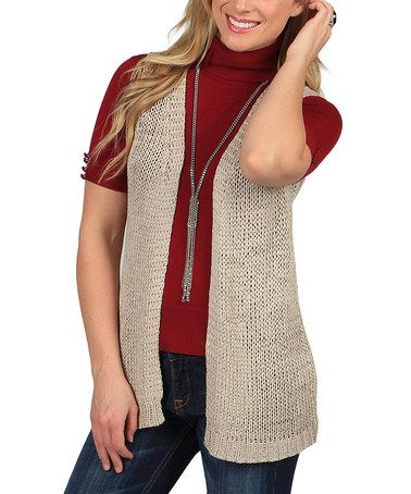 Look what I found on #zulily! Tan Crocheted Soho Vest by Celebrating Grace #zulilyfinds