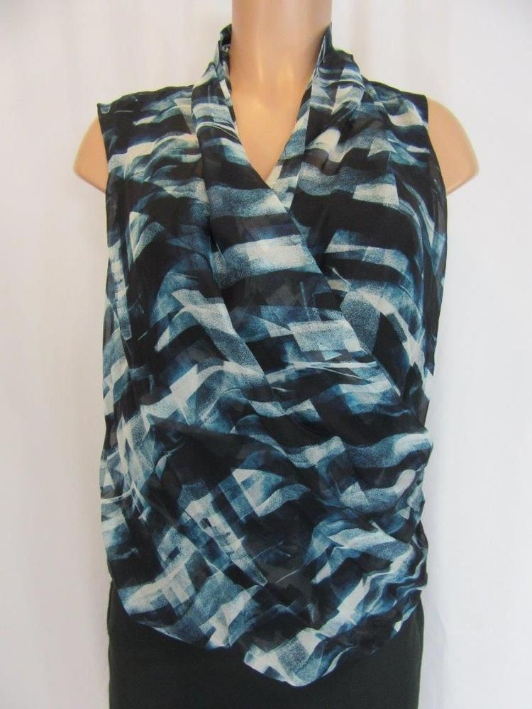 30bc074d72d THEORY Blue Black Silk Abstract Print Faux Wrap Front w Black Tank Top  Blouse M