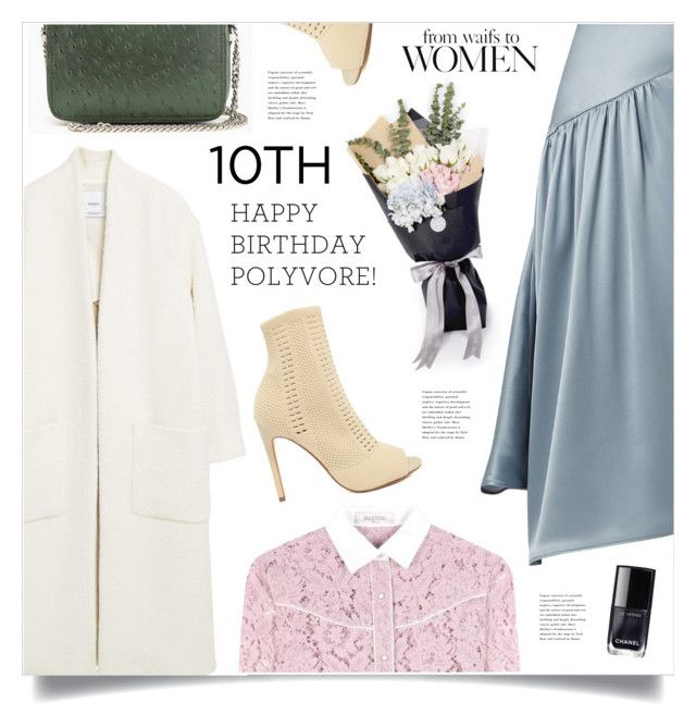 """""""Celebrate Our 10th Polyversary!"""" by marina-volaric ❤ liked on Polyvore featuring MANGO, Sies Marjan, Valentino, Steve Madden, Boots, lace, coat, polyversary and contestentry"""