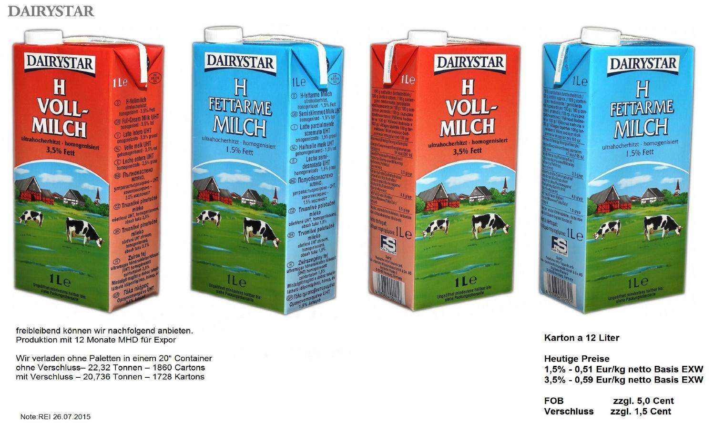 H Milch Unter Unserer Handelsmarke Dairystar Exportieren Wir In Die