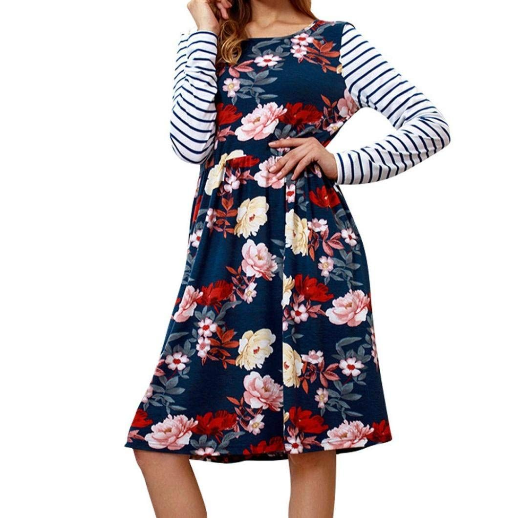 1c91408bd $16.99 Luckylin 2018 Sexy Fashion Long Sleeve Print Striped O-Neck Loose Casual  Dresses at Amazon Women's Clothing store: