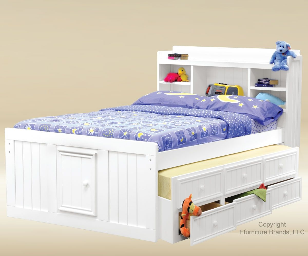 Good Trading White Finish Full Size Captains Trundle Bed Kids Bedroom Furniture Beds And