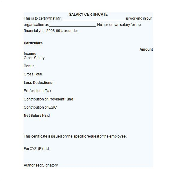 Sample Salary Certificate Template Documents Pdf Word