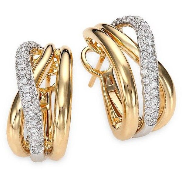 Roberto Coin Diamond 18k White Yellow Gold Crossover J Hoop 6 000 Liked On Polyvore Featuring Jewelry Earrings