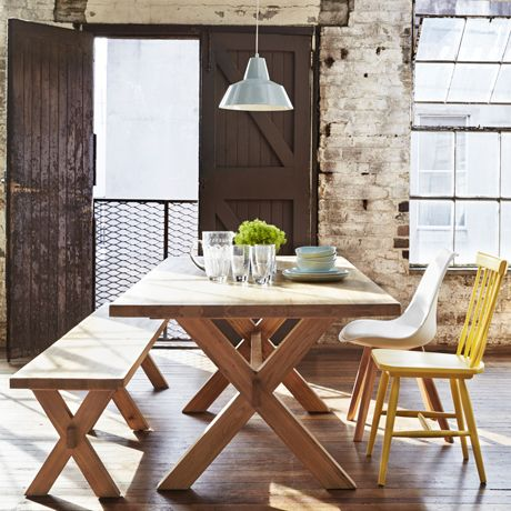 I Absolutely Love This Table Expecially With The Criss Cross Legs I Also Love The Idea Of Having A Benc Dining Table With Bench Dining Table Mix Match Chairs