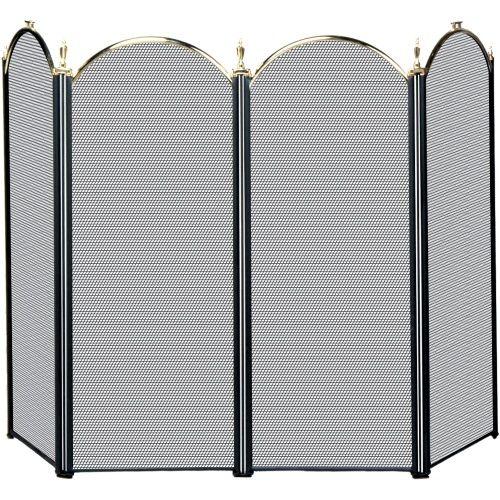 Uniflame 4 Panel Triple Plated Folding Fireplace Screen Brass