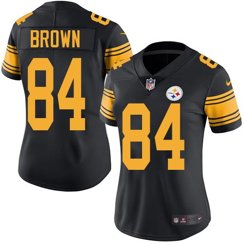 nike pittsburgh steelers womens 84 antonio brown limited black rush nfl jersey alex smith jersey