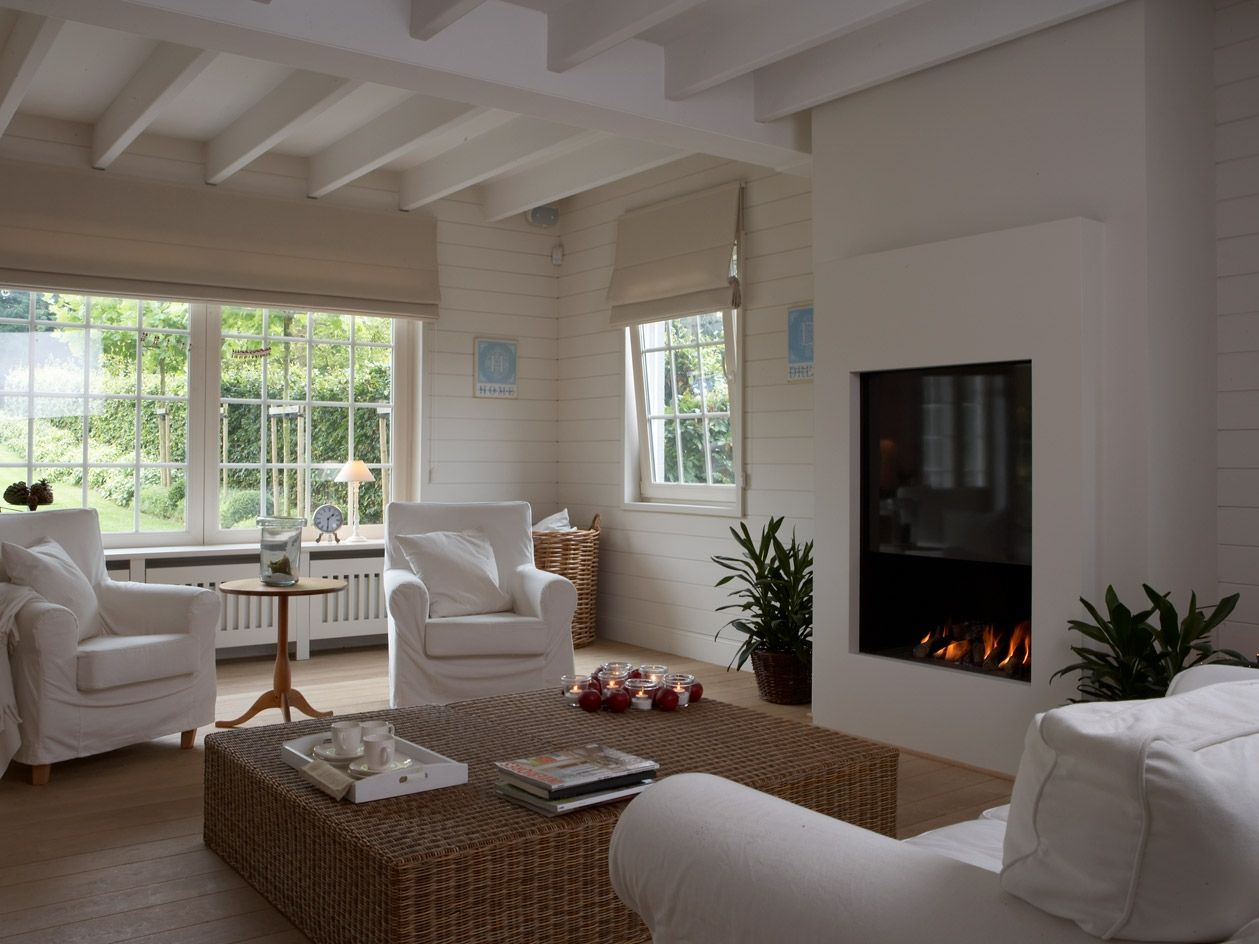 white room & fireplace