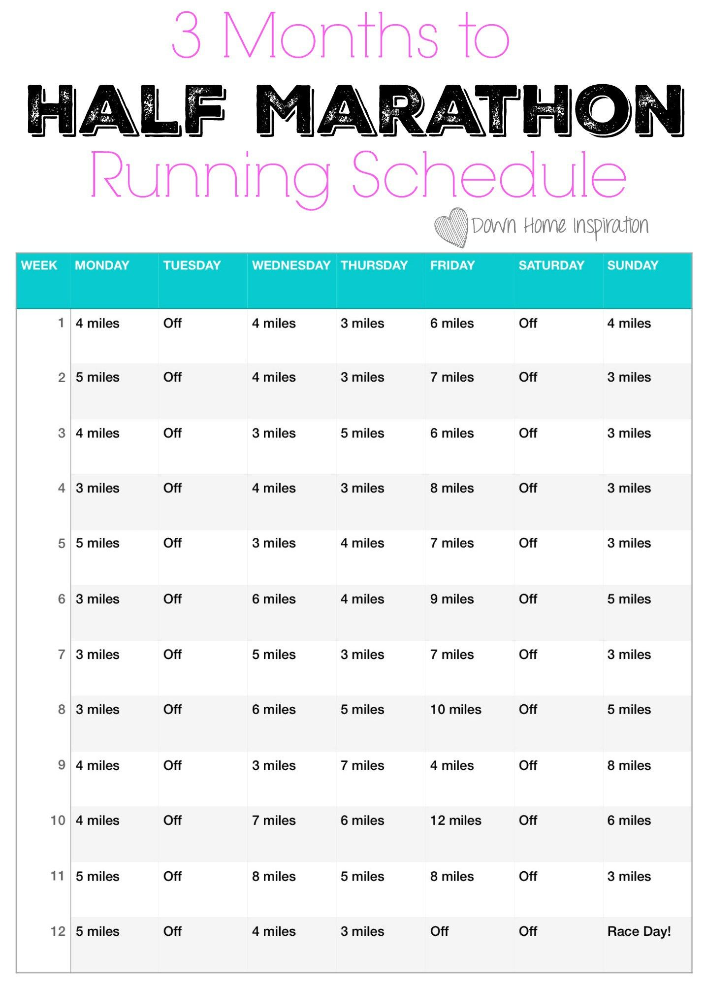 How I Went From Hating Running to a Half Marathon in 3 Months (& my Weekly Running Schedule) - Down Home Inspiration