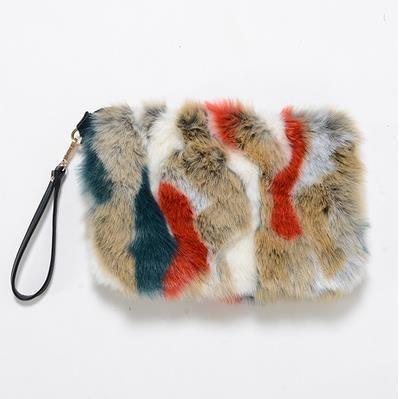 48fb77cfe4fd New Fashion Women s Clutches Bags Lady Mixed Faux Fur Clutch Handbags  Shoulder Bags Pouch Party Messenger