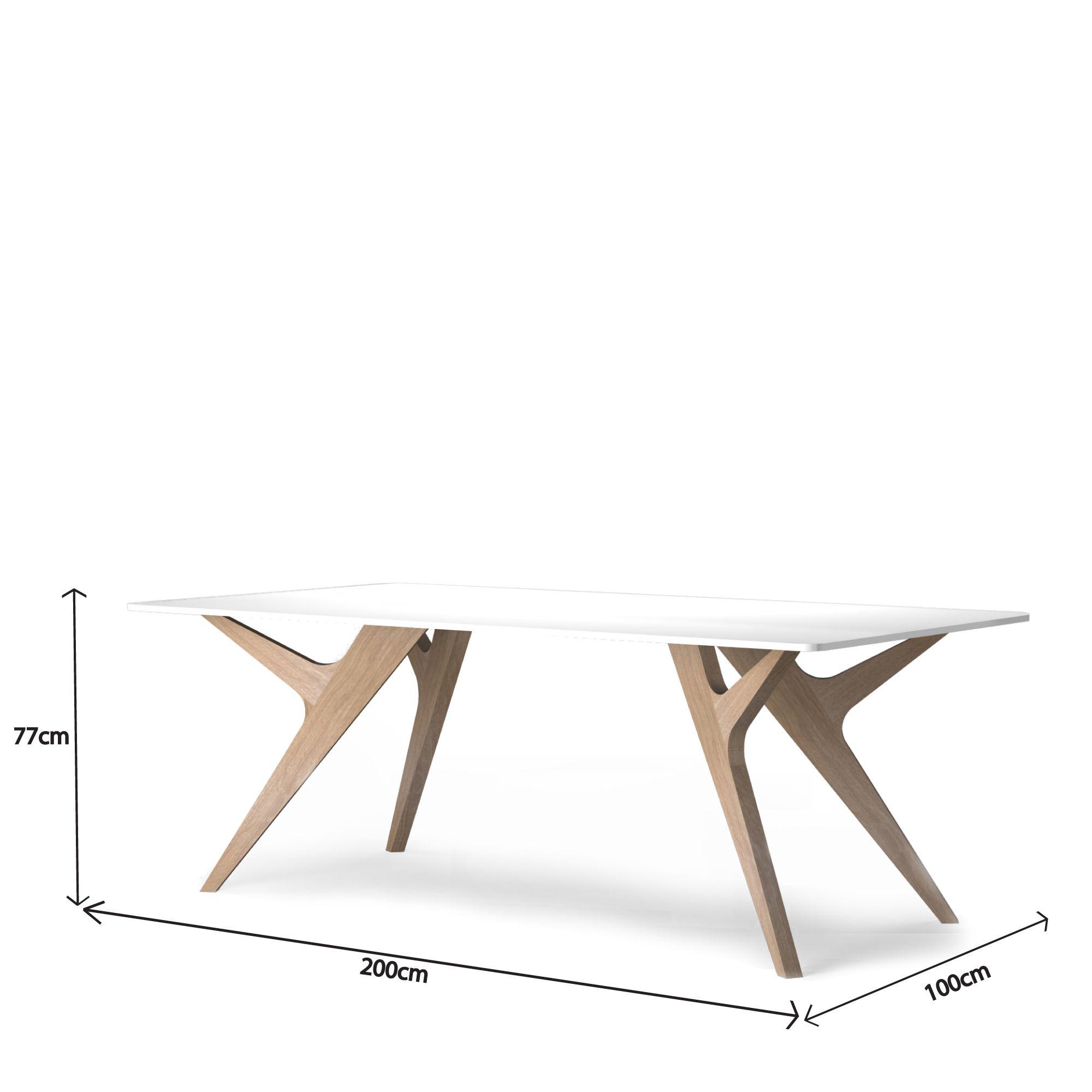 Table Bois Blanc Design Chene Made France Scandinave Audrey Savelon Table Blanche Et Bois Meuble Haut De Gamme Table Bois