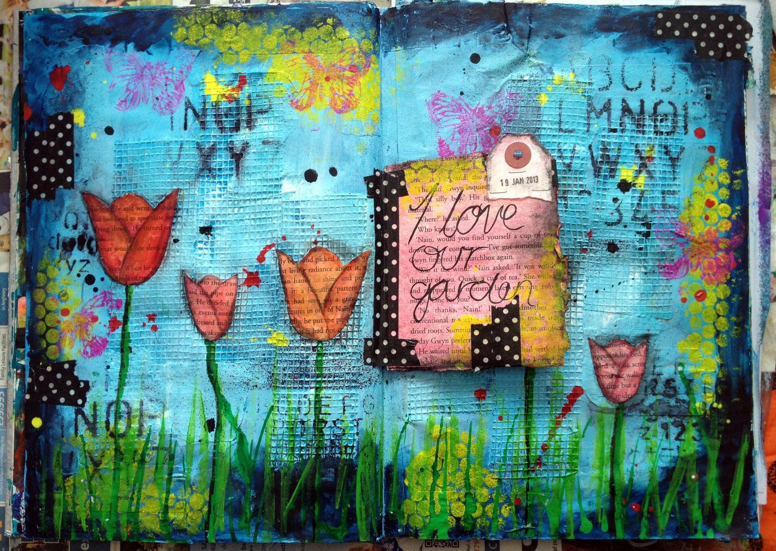 Garden art journal page by on for Journal painting ideas
