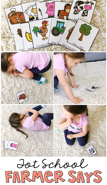 Work on gross motor and listening skills with this Simon Says game. Perfect for a farm theme in tot school, preschool, or the kindergarten classroom.