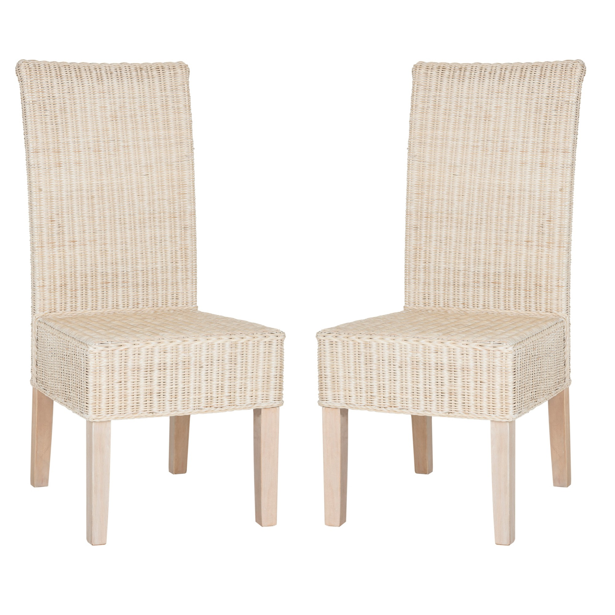 Set of 2 Arjun Wicker Dining Chair Washed White Safavieh