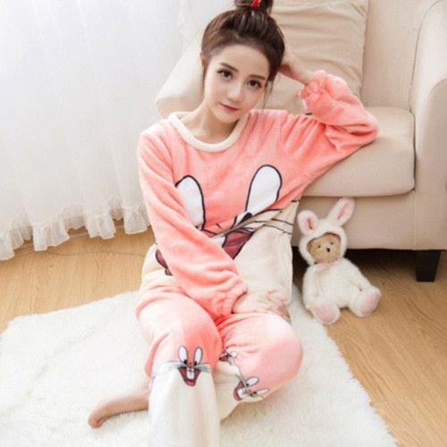 719db1a0c7 Autumn and Winter Women Pyjamas Sets Thick Warm Coral Velvet Suit Flannel  Long Sleeve Female Cartoon Bear Animal Pants Sleepwear