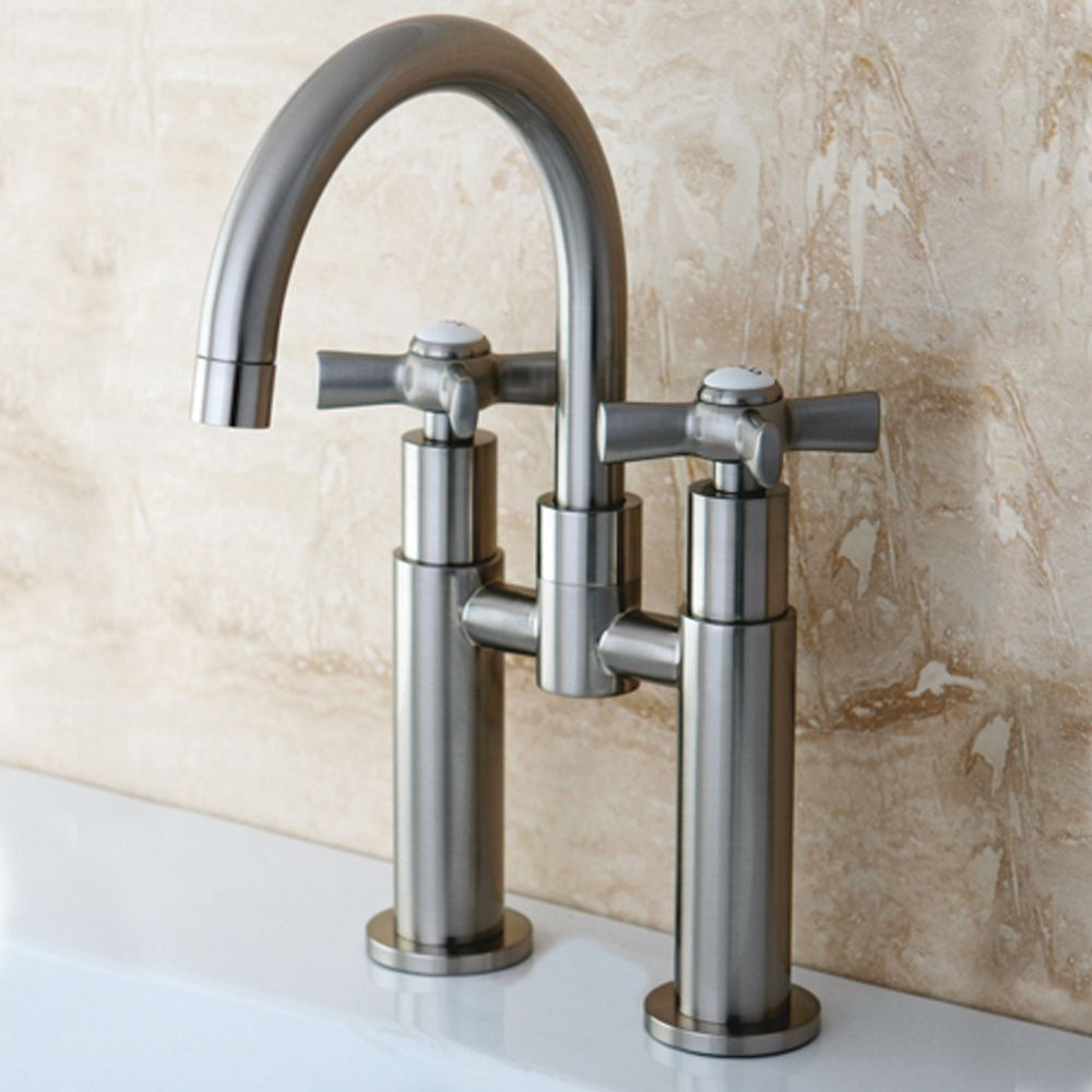 Modern Bridge Satin Nickel Bathroom Faucet | Overstock.com | urban ...