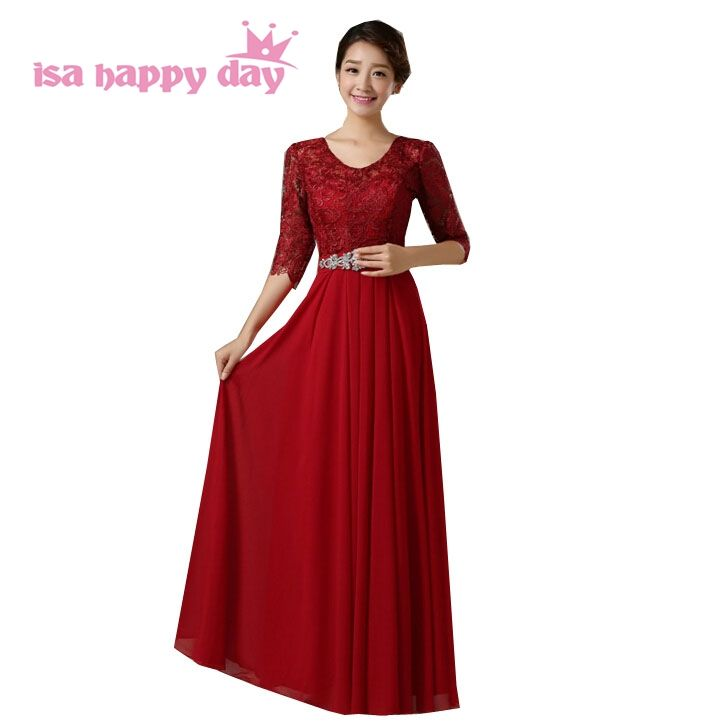 womens gown 2018 light 2017 elegant long dark red beaded chiffon ...