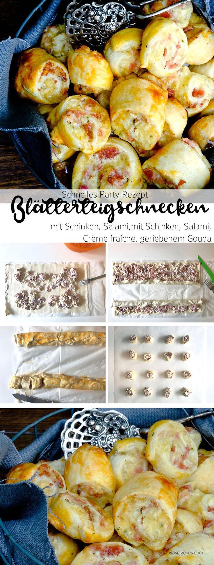 Schnelles Party Rezept: Blätterteigschnecken mit Schinken, Salami und Käse.