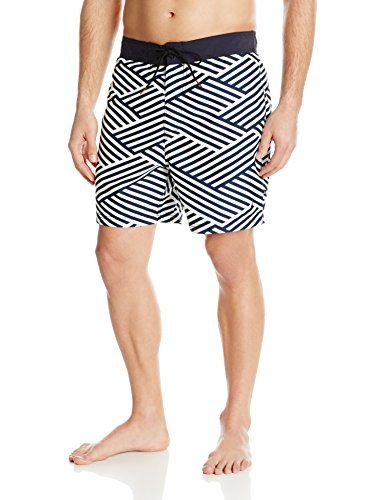 Nautica Mens Quick Dry Diagonal Stripe Swim Trunk Sail White XLarge * Click image to review more details.