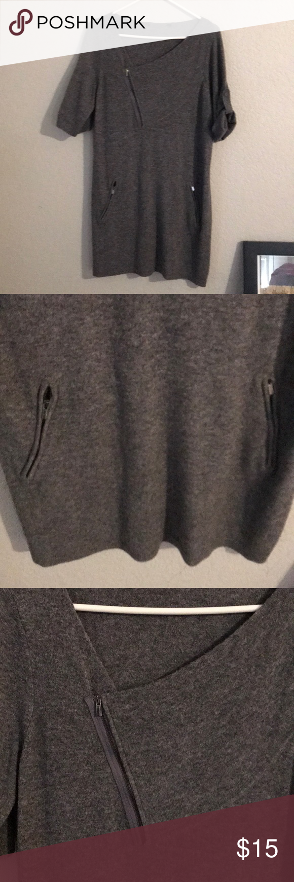 Sweater tunic Stylish gray sweater tunic! Zippered pockets. Can unzip neckline too. Sleeves can be worn buttoned up or left down. No tag bc it was itchy! Tops Tunics