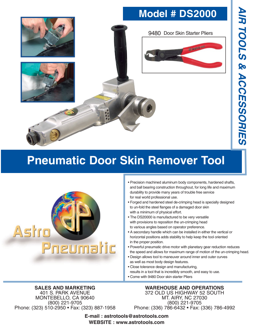 Pneumatic Door Skin Remover Tool Air Tools Tool Company Hardened Steel