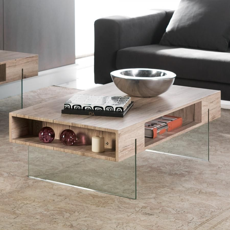 Sleek And Modern Glass Oak Celine Coffee Table With Storage Space  # Muebles Macabane