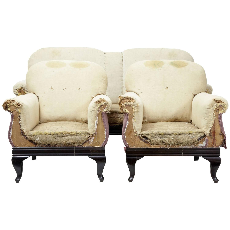 Best 19Th Century Mahogany Three Piece Suite Armchairs Sofa 400 x 300