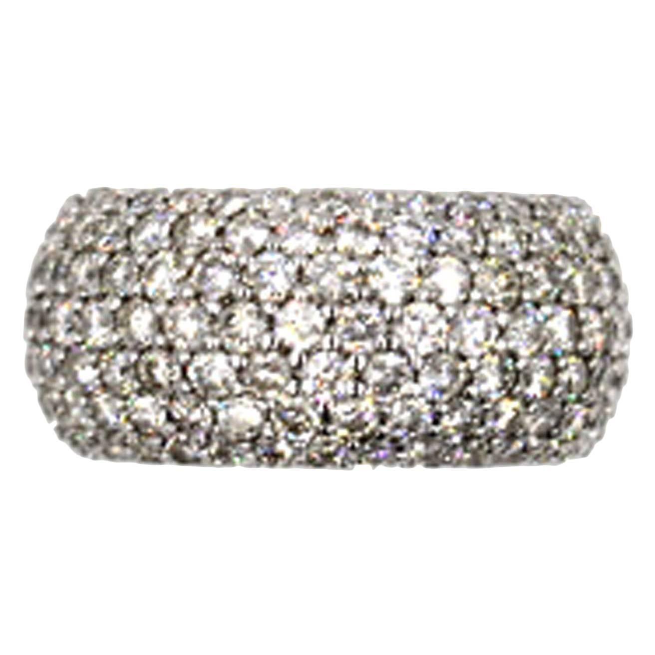 Five-Carat Pave Diamond Eternity Band   From a unique collection of vintage wedding rings at https://www.1stdibs.com/jewelry/rings/wedding-rings/