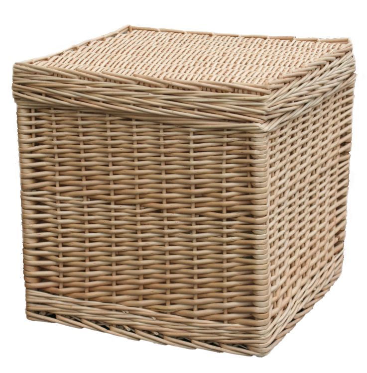 Beautiful Wicker Basket Storage Cube In Light Coloured Buff Willow Wicker  Use As Living Room Or